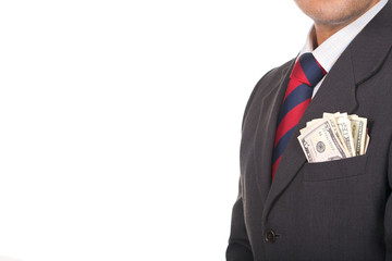 businessman wearing suit with money in the pocket