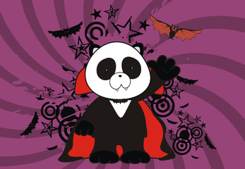 panda bear dracula cartoon background01