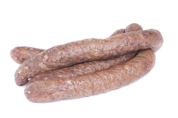 Sausage isolated on white background  Meat product.