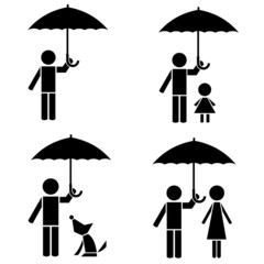 Silhouette man protect kid, woman, dog under umbrella.