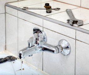 Plumbing, water tap and tools