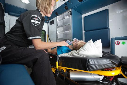 Ambulance Interior with Senior Woman