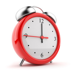 Red alarm clock 3d. Icon. Isolated on white background
