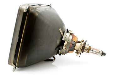 Back of old television cathode tube