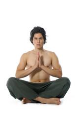 A man does yoga