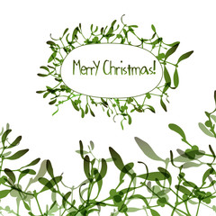 Christmas background with evergreen mistletoe branches