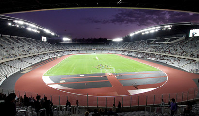 Fotorollo Stadion soccer stadium at night