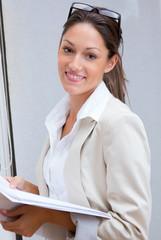 pretty businesswoman working in office