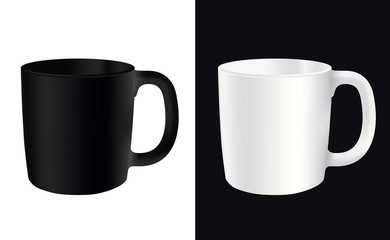 White cup on a white background and the other way vector