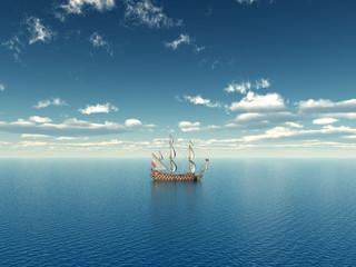 Ozean mit Segelschiff