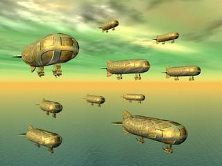 Ein Schwarm Luftschiffe