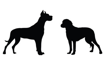 Abstract black silhouette of a dog.