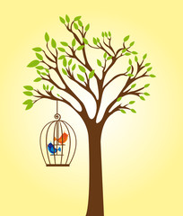 Ingelijste posters Vogels in kooien tree with cage