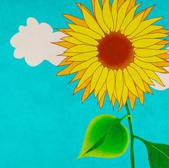 Sunflower, grungy illustration