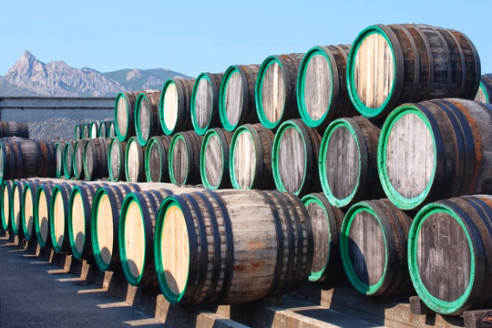 Warehouse with wine casks with madeira outdoors