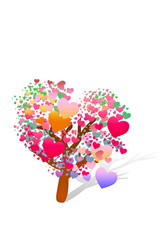 valentine tree with hearts