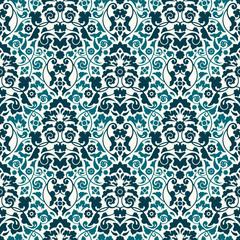 Seamless Damask Pattern Turquoise/Teal Wallpaper