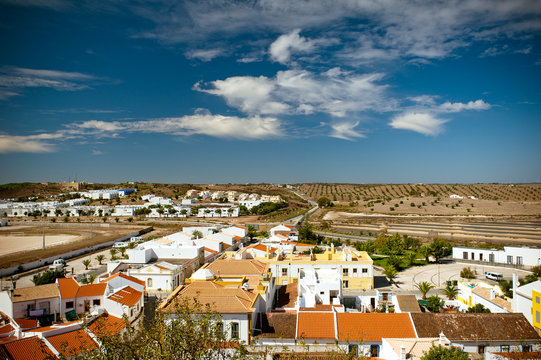 City landscape of Castro Marim with beautiful sky with clouds