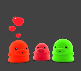3d render of 3 little monster creature in love