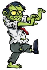 Cartoon zombie businessman stalking