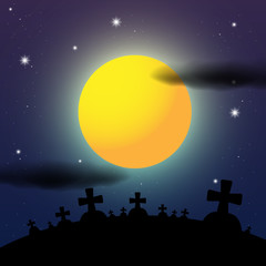 Cemetery Night Vector Halloween Illustration