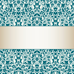 Card Seamless Damask Pattern Turquoise/Gold
