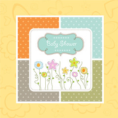 baby shower card with cute flowers
