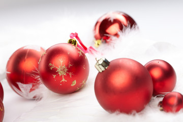 Christmas balls on the white background