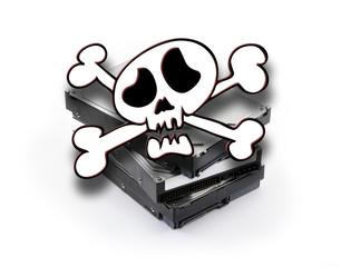 Death'head above three hard disks stacked