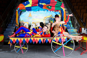Clown couple with dogs. Circus. Performance