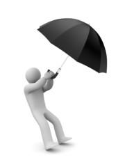 Person and umbrella