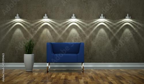 wohndesign bleuer sessel vor beleuchteter wand stockfotos und lizenzfreie bilder auf fotolia. Black Bedroom Furniture Sets. Home Design Ideas