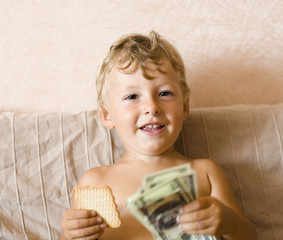 little boy with money