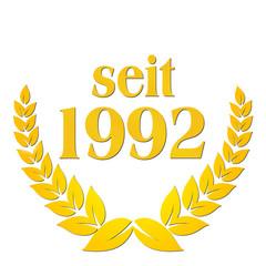 seit 1992 jubiläum lorbeerkranz lorbeer gold