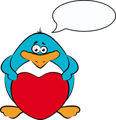 cartoon penguin with heart