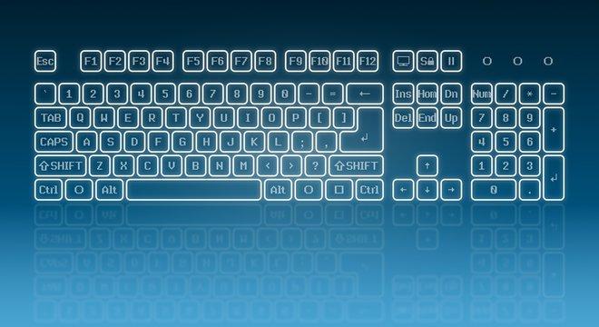 Glowing touch screen keyboard