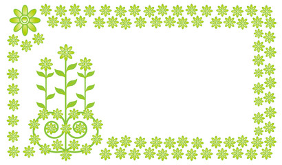 green flower frame vector