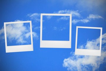 photo frames on blue sky