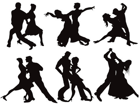 Silhouettes of the ballroom dancers