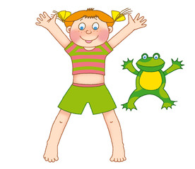 little girl and frog  on a white background