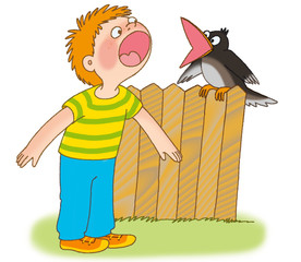 little boy and crow are cawing