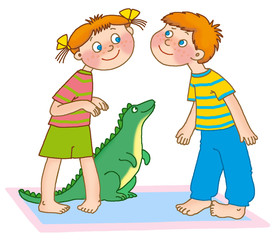 little boy and a girl pretend to be dinosaurs