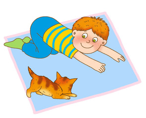 a little boy crawling on the mat, like a kitten