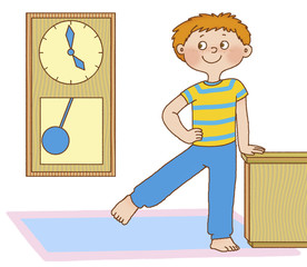 little boy waved his leg, portraying a pendulum clock