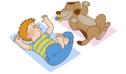 Boy and dog lying on his back, doing gymnastics
