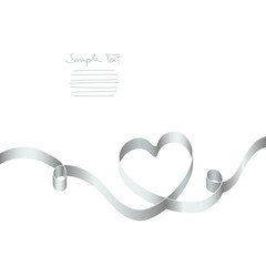 Silver Ribbon Heart 2 Swirls