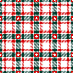 Seamless Pattern Xmas Check White Stars Red/Green