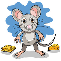 A cartoon mouse with some cheese
