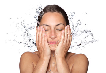 Beautiful wet woman face with water drop