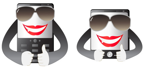 two cute smiling mobile phone with hand and sunglasses